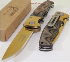 Elk Ridge Ballistic Gold Hardwood Finger Grooved Spring Assisted Opening Knife