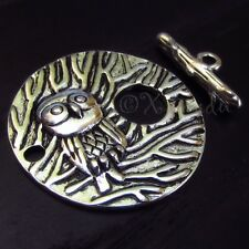 5 Sets Wholesale Large Owl Toggle Clasp With Forest Design - XF6837