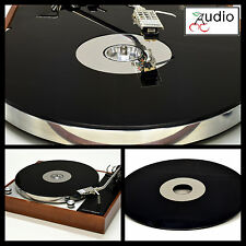 Gloss Black & Mirror Acrylic Turntable Platter Mat fits THORENS w/ 45 adapter.
