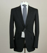 New Tom Ford Solid Black Peak Lapel Suit Size 48 L (58 L EU) Fit A Model NWT