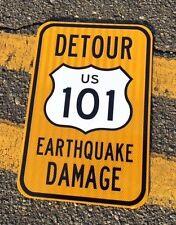 California 101 Road Sign - DETOUR - UNUSED DOT specs - traffic route highway