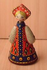 Vintage Collectible Retro Tin Mechanical Russian Toy Girl In Traditional Clothes