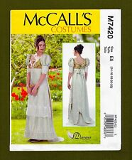 McCalls Sewing Pattern 7420 ~ Victorian Regency Gown~Empire Waist (Sizes 14-20)