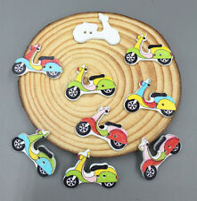 20pcs Mixed Color Tram Wooden Sewing  Buttons Scrapbooking Decorations 26mm
