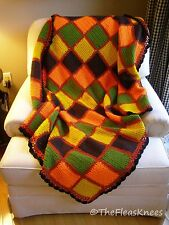 "Colorful Squares Throw Blanket Afghan Vintage Crocheted 46"" x 56"""