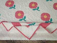 Sweetest Vintage 30s Pink Posies Applique QUILT Cottage Perfect