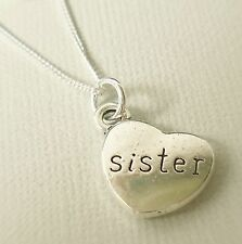 925 Sterling Silver Necklace With Antique Silver Heart Sister Pendant