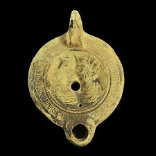 APHRODITE- ANCIENT OIL LAMP WITH TWO BUSTS & INSCRIPTION