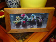 TEENAGE MUTANT NINJA TURTLES FRAMED METAL LICENSE PLATE SIGN SOLID CEDAR