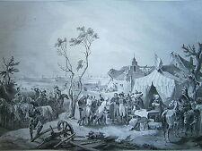 Gravure 19° guerre Révolution Prise d'Anvers Belgique 1794 Napoléon
