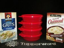 Tupperware 4 NEW Popsicle RED Microwave Cereal Bowls ~Soup ~Oatmeal ~Salad