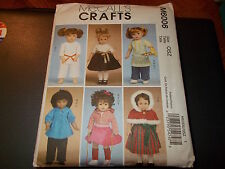 "McCalls CRAFTS Pattern M6006 18"" Doll Clothes- Karate Outfit~Christmas Dress~ETC"