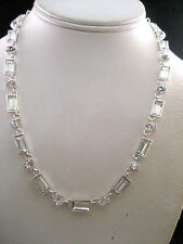 Charter Club Silver Statement Necklace Strand Pendant Clear Crystals Macy's New