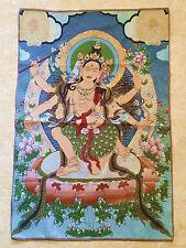 Wundervolles mit Seide gesticktes Thangka Nepal Tibet 6armiger Buddha 90 x 60 cm