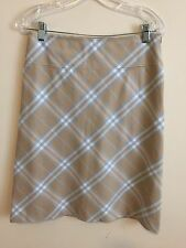 1125)  BURBERRY sz 4 blue beige plaid cotton skirt below knee