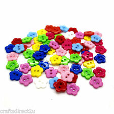 100 Resin Flower Shaped Buttons - Scrapbooking - Crafting - Sewing - UK SELLER