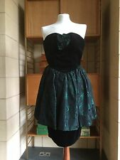 Vintage 1980s Black Velvet And Green Brocade Wiggle Dress 8 10