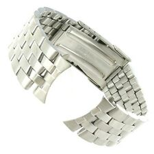 20mm Curved and Straight End Stainless Silver Tone Fold-Over Buckle Watch Band