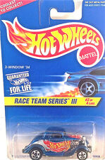 HOT WHEELS RACE TEAM SERIES III 3-WINDOW '34 #3 OF 4 CARS DRAG STRIP READY!