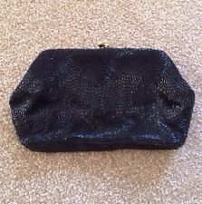 Magid Black Beaded Evening Purse Clutch Prom Cruise Date Night HandMade in Japan