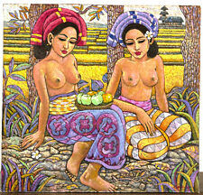 "ORIGINAL BALINESE PAINTING, BY SUTIKNO, OIL ON CANVAS, ""LOOKING AT APPLES"""