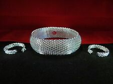 925 Sterling Silver Mesh Bracelet & Earrings Set ~UK SELLER~
