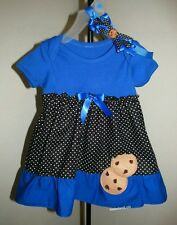 Cookie Monster Themed Birthday Party Outfit Girls Onesie Dress 1st Sesame Street