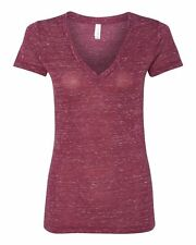 Bella Ladies Size S-2XL DEEP V Neck Jersey Short Sleeve T-Shirt Womens Tee 6035