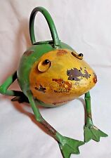 "Frog Watering Can Metal Rustic Whimsical 1 Qt 8"" x 8"" Sprinkles Water Decorative"