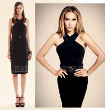 $1,700 GUCCI DRESS BLACK STRETCH CADY CROSS TOP WITH BAMBOO BELT sz 48/ US 12