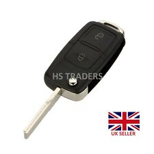 2 Button Uncut Flip Blank  Key Case Shell FOB for VW BORA GOLF MK4 *with LOGO*