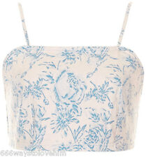 Topshop MOTO Pastel Floral Rose Print Denim Bralet/Crop Top 14 42 Blue Multi New