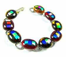 "DICHROIC Link Bracelet Red Blue Amber Multicolored Fused Glass Dots 1/2"" x 7.5"""