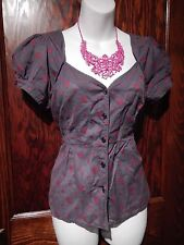 EDME & ESYLLTE gray magenta pink embroidered floral blouse shirt top pin-up 6 M