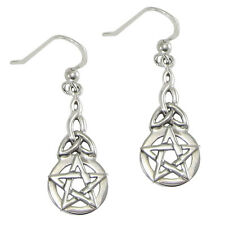 Sterling Silver Pentacle Triquetra Celtic Knot Pentagram Earrings Wicca Pagan