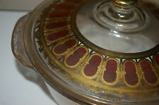 FIREKING SIGNED CULVER COVERED CASSEROLE DISH 22K GOLD RUBY BERRY SCROLL 1950'S