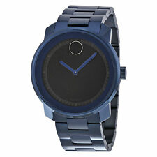 New Movado Bold Black Dial Blue PVD Stainless Steel Men's Watch 3600296