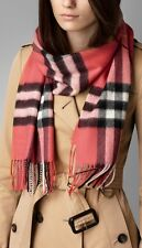 NWT Burberry Giant Exploded Check Cashmere Scarf Shawl Nova Check Coral Pink