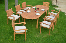 """9 PC OUTDOOR DINING TEAK PATIO SET - 94"""" OVAL EXTENSION TABLE, 8 STACKING CHAIRS"""