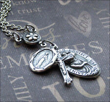 Silver Religious Medal Necklace Enchanted Traveler's Protection St. Christopher