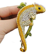 Lizard Animal Stretch Cocktail Ring Sz Free Austrian Crystal Yellow Gold Tone