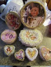 Lot of 8 Handmade decorated wooden angel boxes - NATLOT