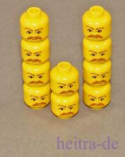 LEGO - 10 x Kopf gelb mit Schnurrbart und Augenbrauen / 3626bpb0041 NEUWARE (L5)