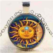 Sun Moon Star Goddess Pentacle Picture Pendant Photo Silver Necklace + Pouch