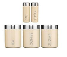 5 Pc Canister Tea Coffee Sugar Salt And Pepper Enamel Jars Set Various Colours