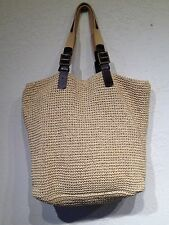 Ralph Lauren Women Tan Straw Shoulder Bag Large Shopper Tote Buckle Straps