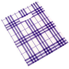 100pcs New Selling Durable Purple&White Grid Plastic Carrier Bags Fit Packages L