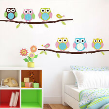 Flossy Owl Wall Stickers For Kids Rooms Home Decor Sofa Living Wall Decals
