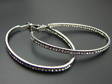 18k White Gold GP Rhinestone Crystal Hoop Stud Dangle Earrings Oval Hoops