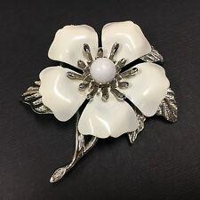 MOD 60'S! Vtg SARAH COVENTRY White Enamel Flower Brooch Pin Lot Silver B504e
